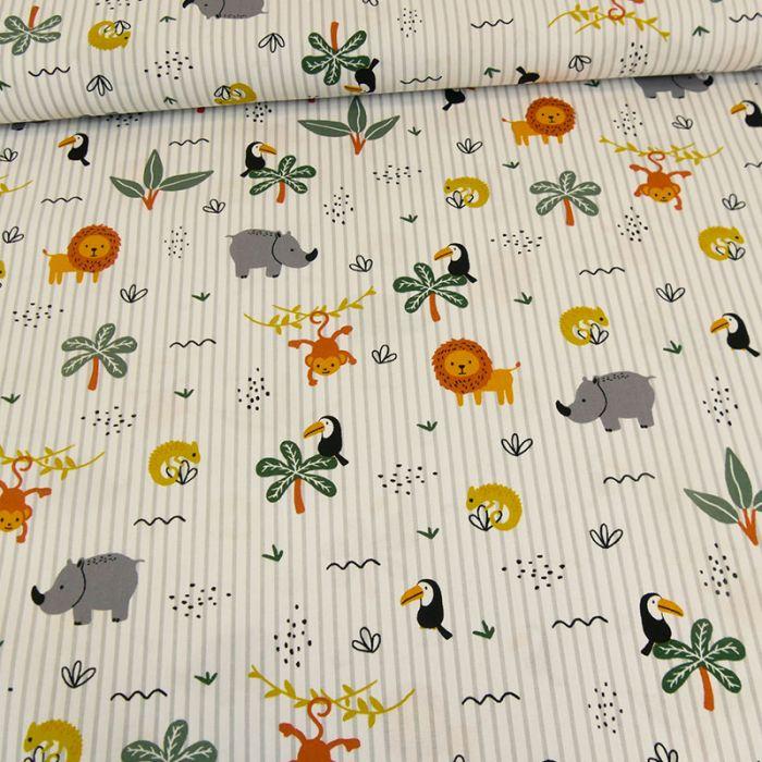 Coupon popeline coton rayures savane blanc - 70 X 150 cm