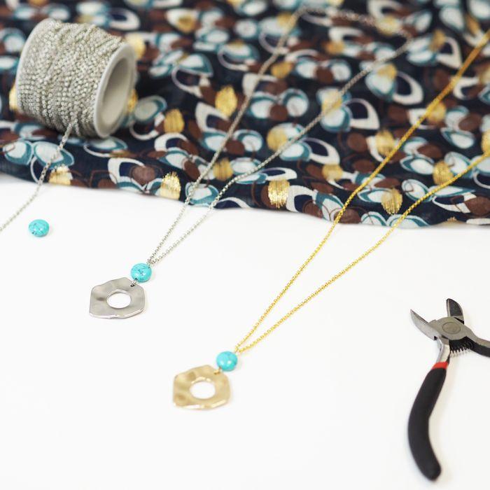 Kit : collier pendentif martelé et perle turquoise