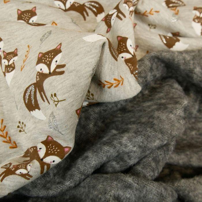 Tissu molleton renards glitter - gris chiné x 10 cm