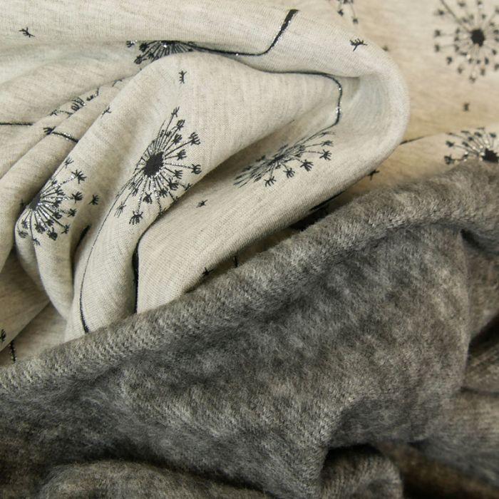 Tissu molleton pissenlits glitter - gris chiné x 10 cm