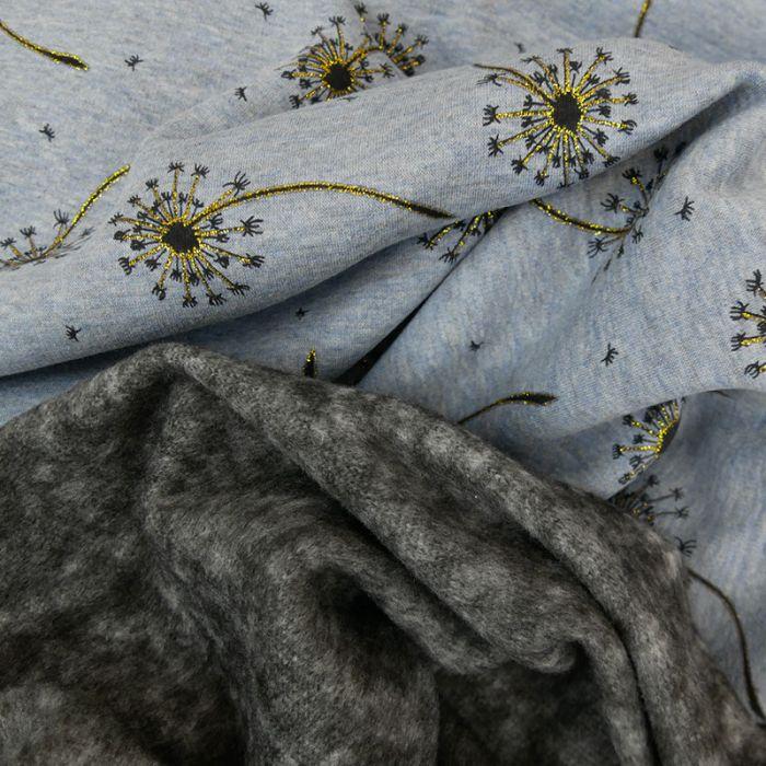 Tissu molleton pissenlits glitter - bleu chiné x 10 cm