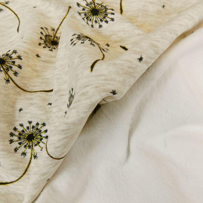 Tissu molleton pissenlits glitter - écru chiné x 10 cm