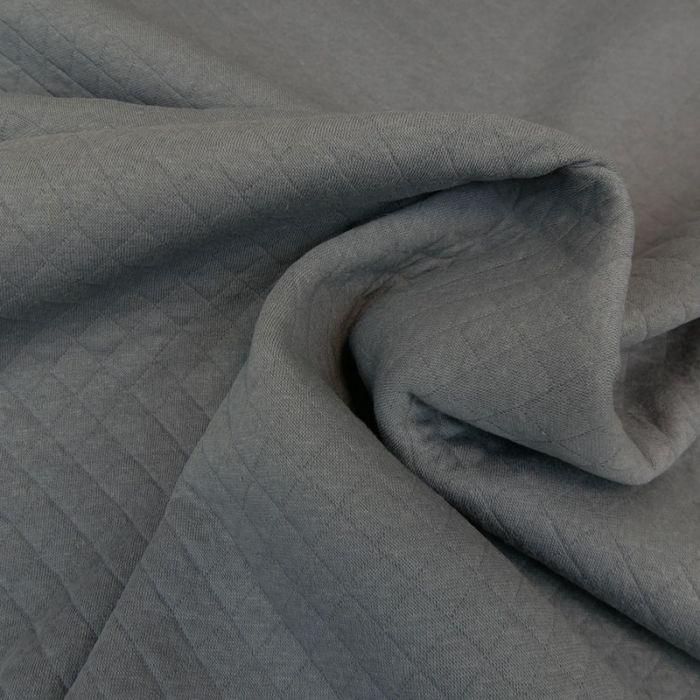 Jersey matelassé coton - gris x 10 cm