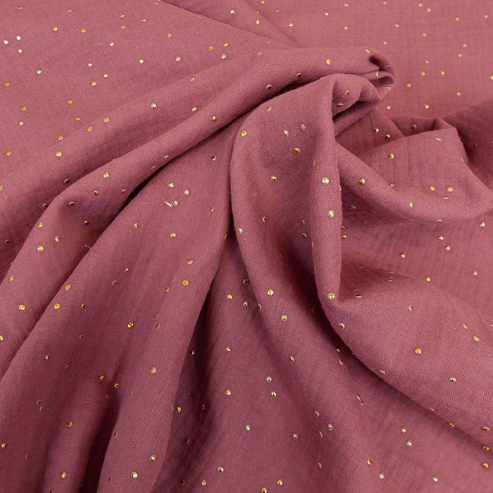 Tissu double gaze pois dorés - framboise x 10cm