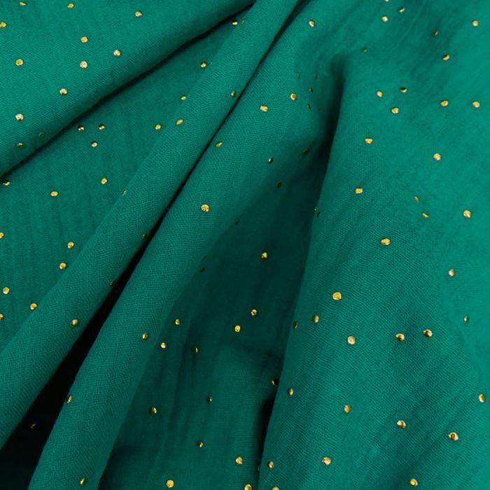 Tissu double gaze pois dorés - émeraude x 10cm