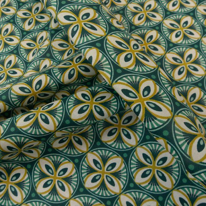 Tissu coton enduit géométrique moutarde - paon x 10 cm