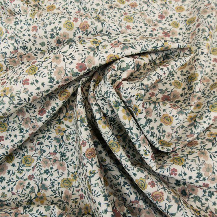 Tissu batiste coton fleurs - pastel x 10 cm