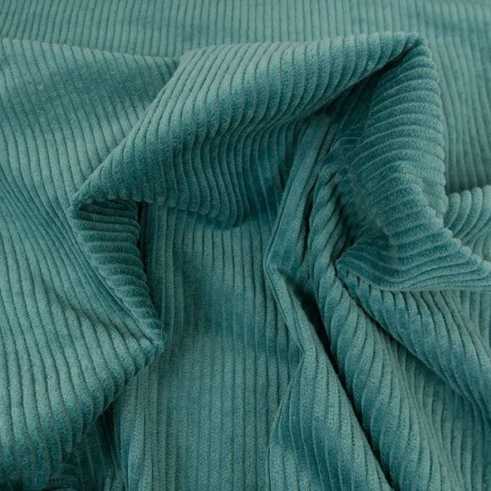 Tissu velours côtelé - bleu paon x 10 cm