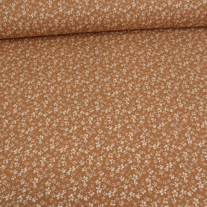 Tissu coton oeko-tex fleurs - muscade x 10cm