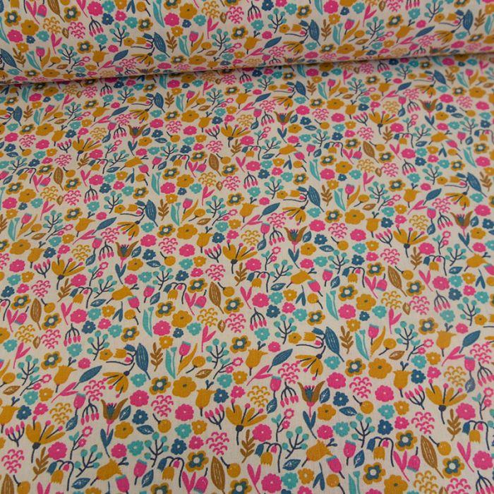 Tissu coton oeko-tex Alice - ocre x 10cm