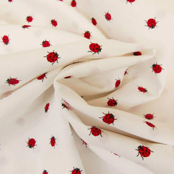 Tissu popeline coton coccinelles - blanc x 10cm