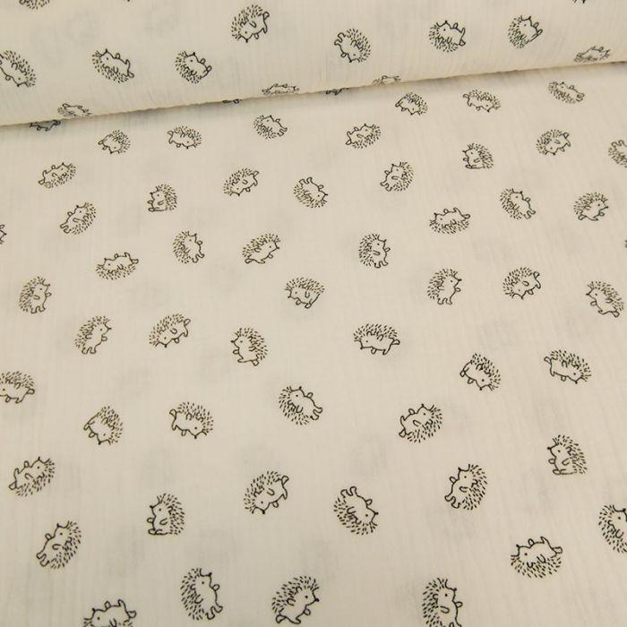 Tissu double gaze hérissons - blanc x 10 cm