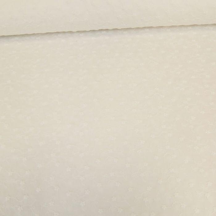Tissu broderie anglaise fleurs - blanc x 10 cm