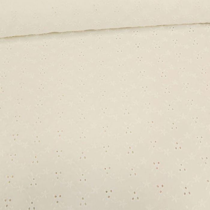 Tissu broderie anglaise fleurs - blanc cassé x 10 cm