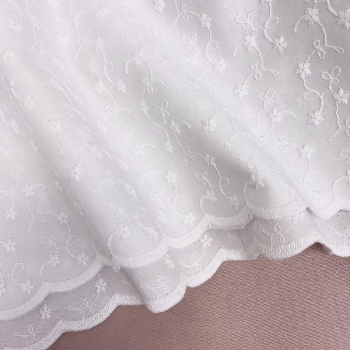 Tissu broderie anglaise Nora - blanc x 10 cm