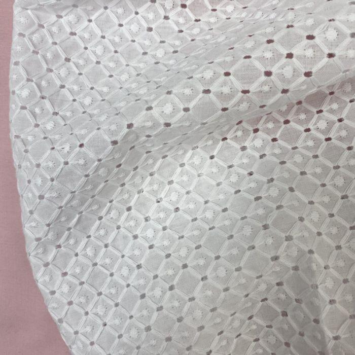 Tissu broderie anglaise Kita - blanc x 10 cm