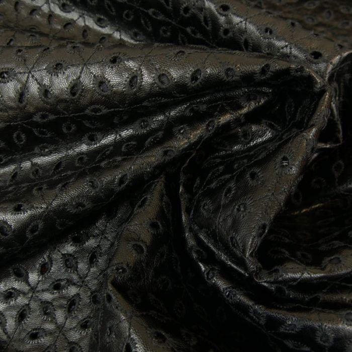 Tissu simili cuir brodé - noir x 10 cm