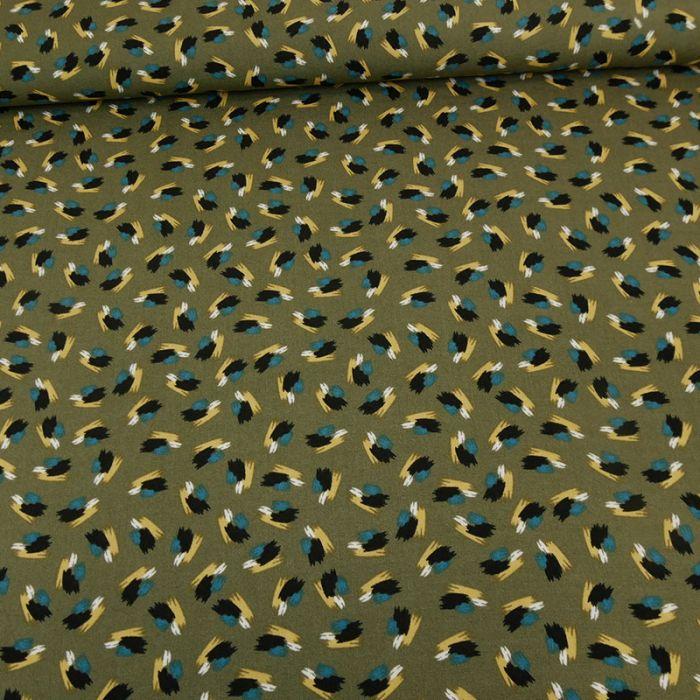 Tissu viscose Hawaiki - kaki x 10 cm