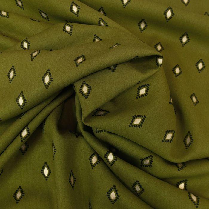 Tissu viscose losanges lurex - kaki x 10 cm