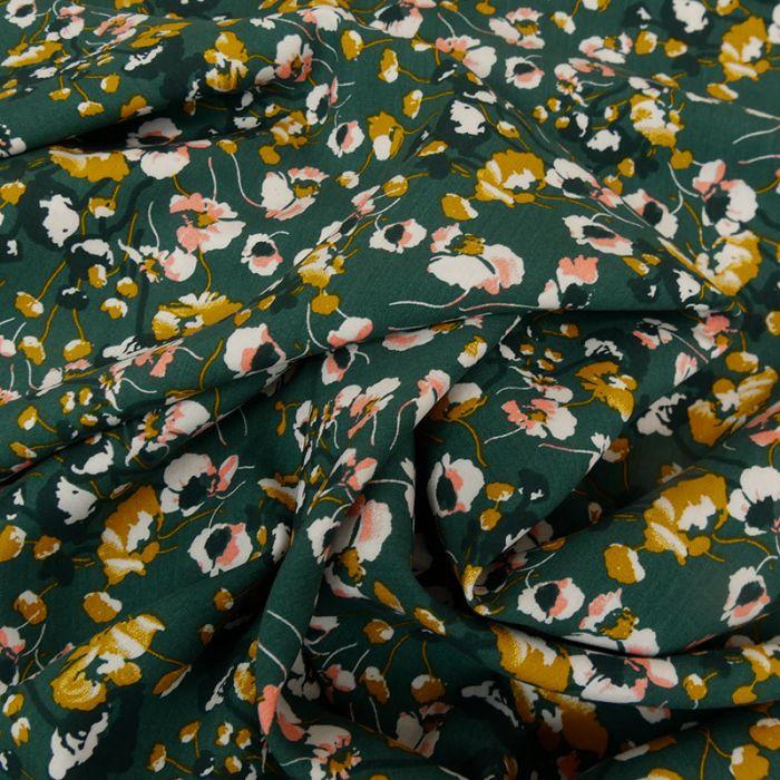 Tissu viscose fleurie - vert x 10 cm