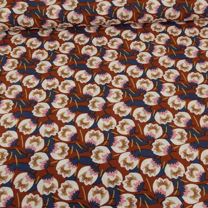 Tissu viscose tulipes - terracotta x 10 cm