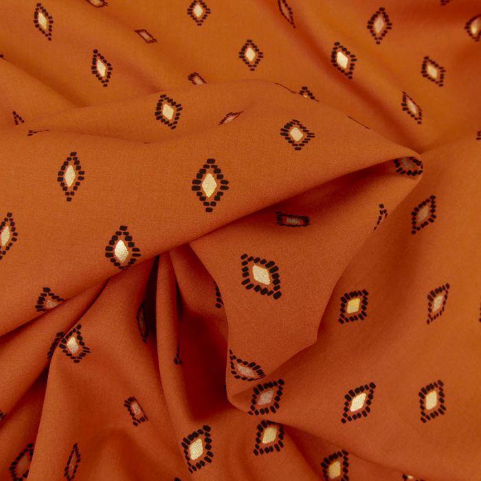 Tissu viscose losanges lurex - orange x 10 cm