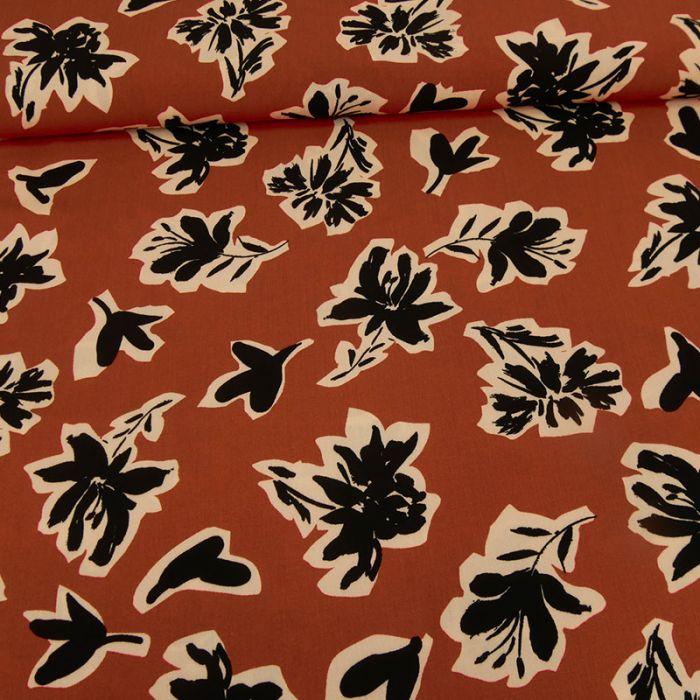 Tissu viscose fleurs hibiscus -  terracotta x 10 cm