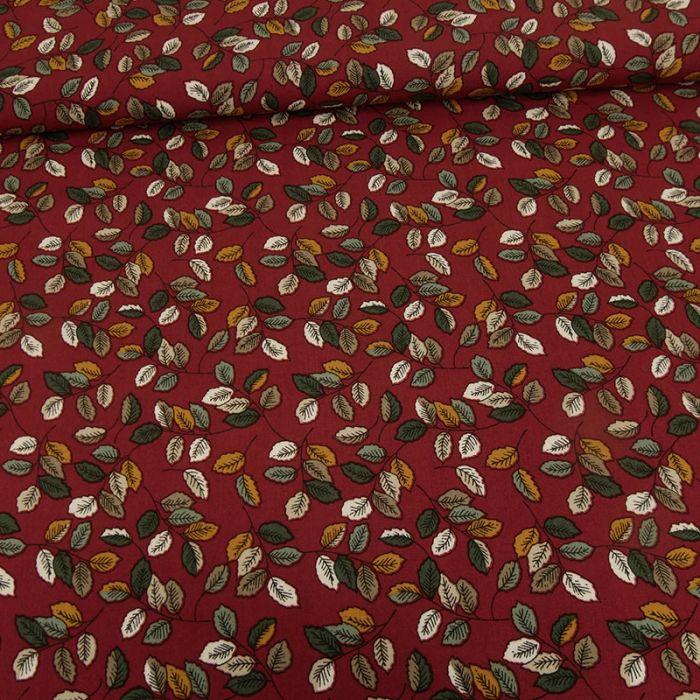 Tissu viscose feuilles automnales - rouge foncé x 10 cm
