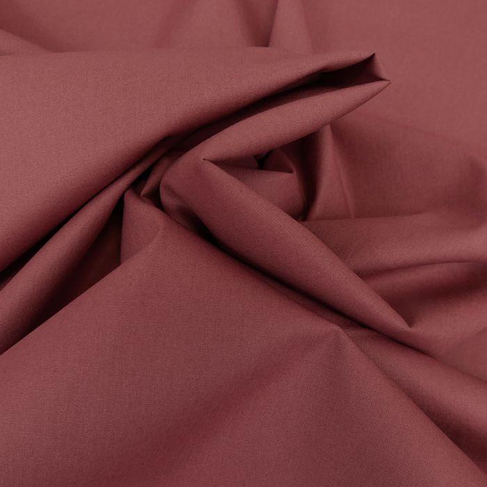 Tissu coton popeline bio - bois de rose x 10 cm