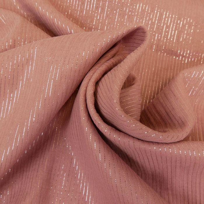 Tissu double gaze rayures lurex - vieux rose x 10 cm