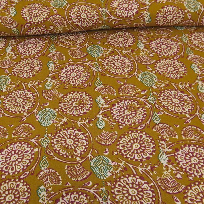 Tissu viscose Mathilda - moutarde x 10 cm