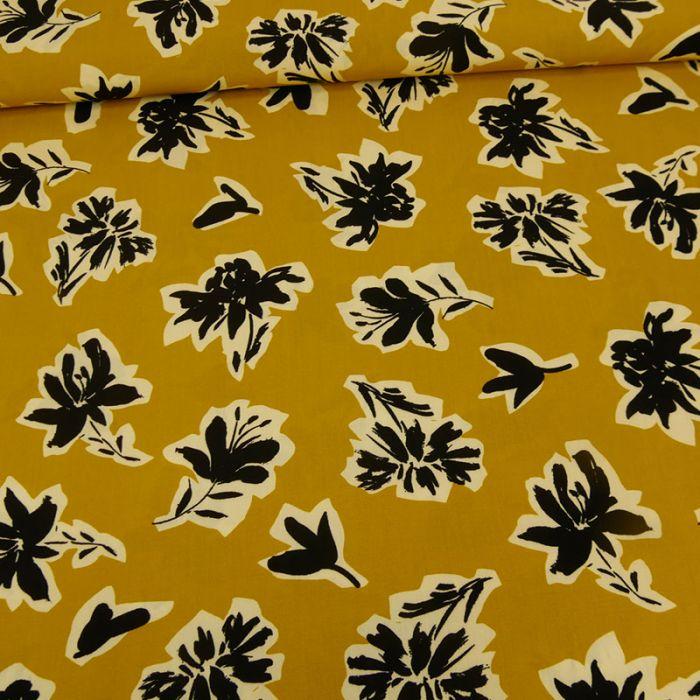 Tissu viscose fleurs hibiscus -  jaune x 10 cm