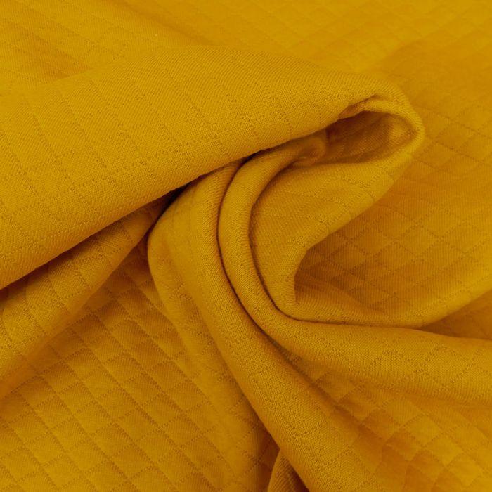Jersey matelassé coton - moutarde x 10 cm