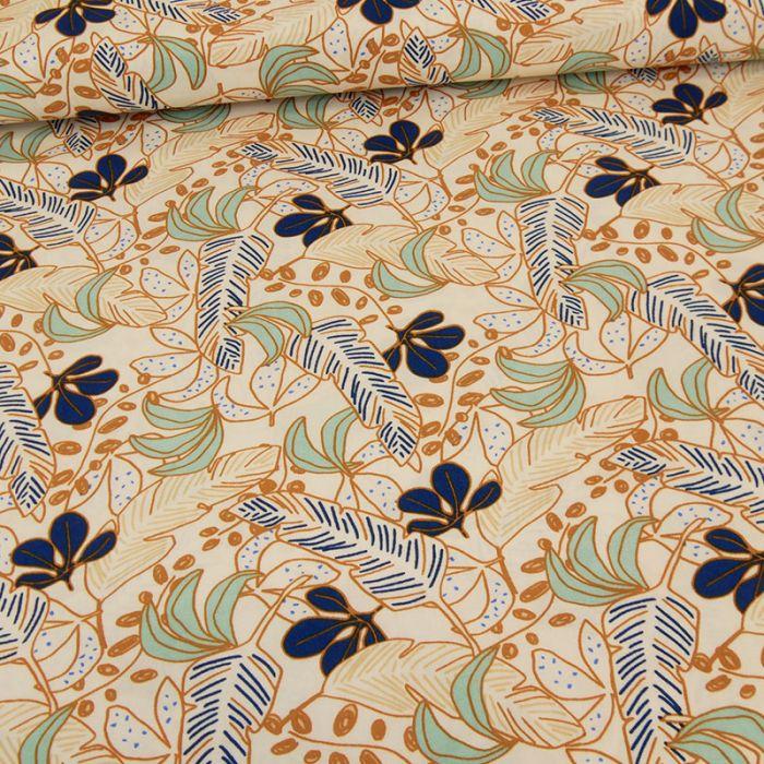 Tissu viscose Palmyre - bleu x 10 cm