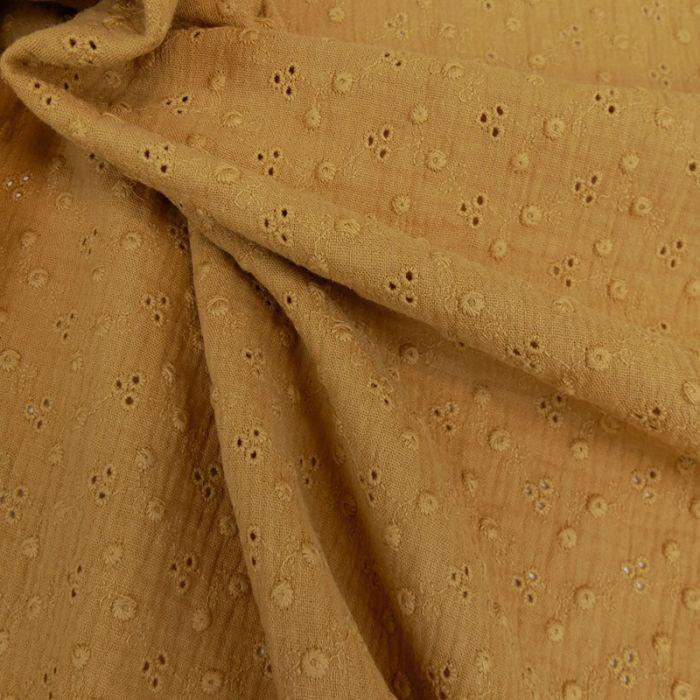 Tissu double gaze brodée - camel x 10cm