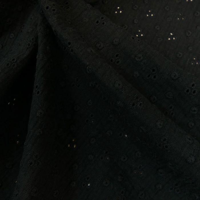 Tissu double gaze brodée - noir x 10cm