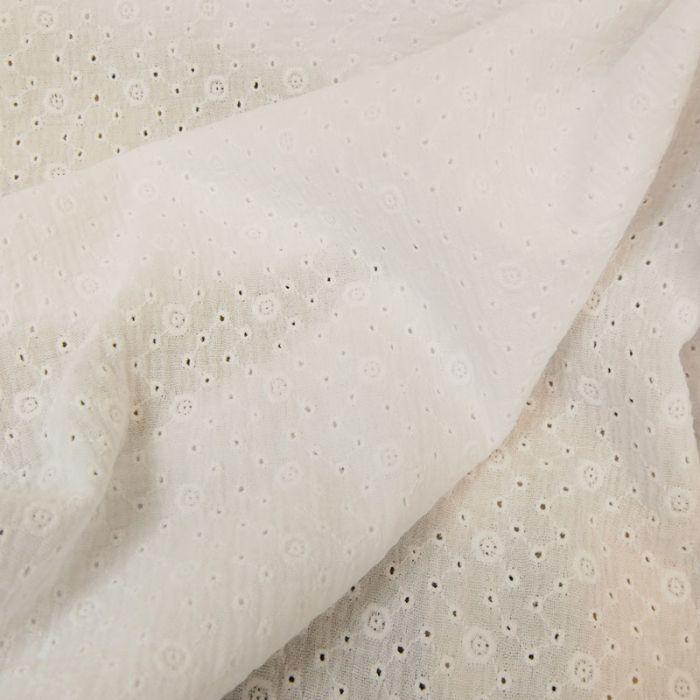 Tissu double gaze brodée Inès - blanc x 10cm