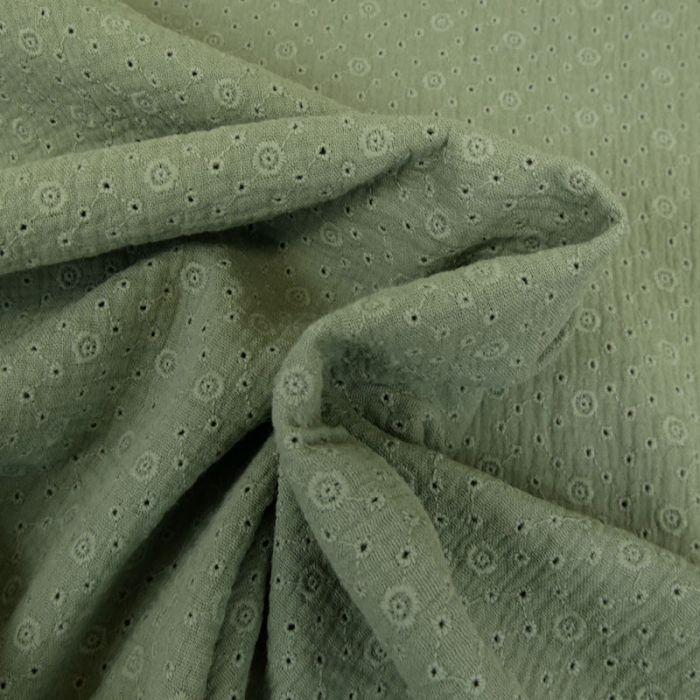 Tissu double gaze brodée Inès - kaki  x 10cm
