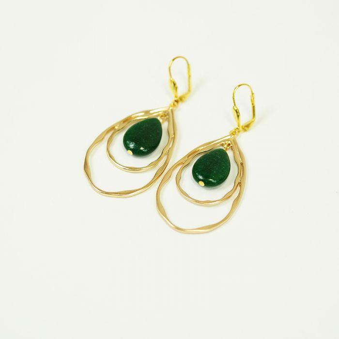 Kit : Boucles d'oreilles goutte pierre