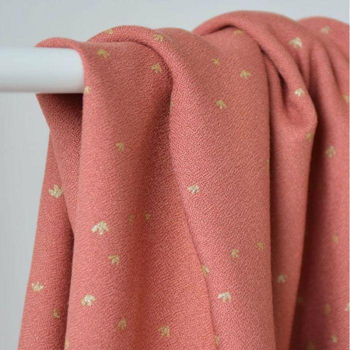 Tissu crêpe viscose Golden Flowers églantine - Cousette x 10 cm