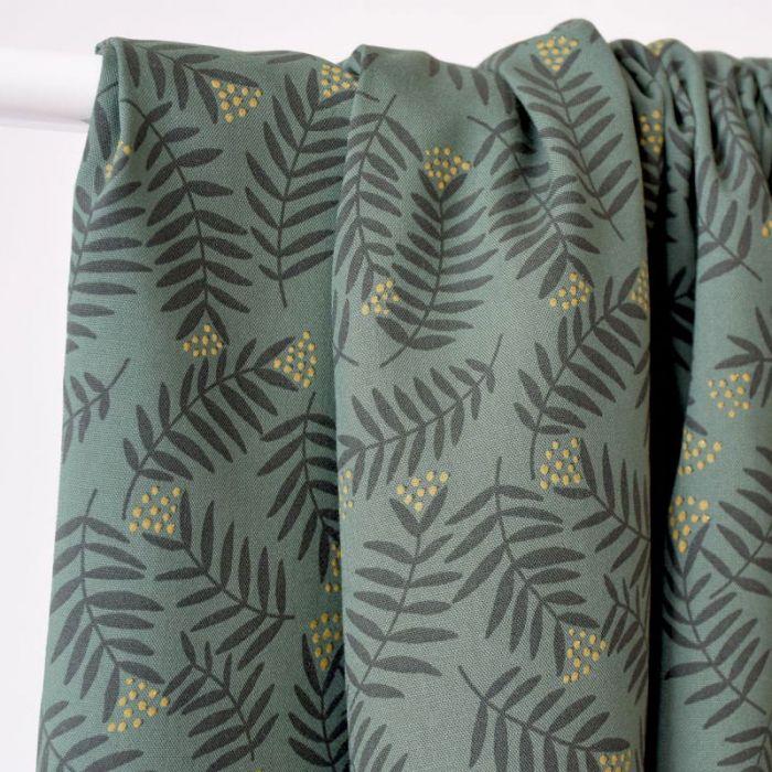 Tissu viscose Rameaux smoke green - Cousette x 10 cm