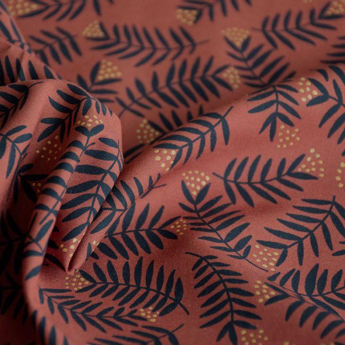 Tissu viscose Rameaux ambre - Cousette x 10 cm
