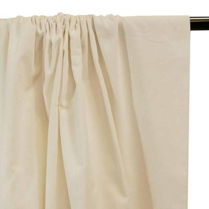 Tissu velours milleraies - écru x 10 cm