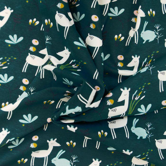 Tissu jersey coton oeko-tex biche - vert x 10cm