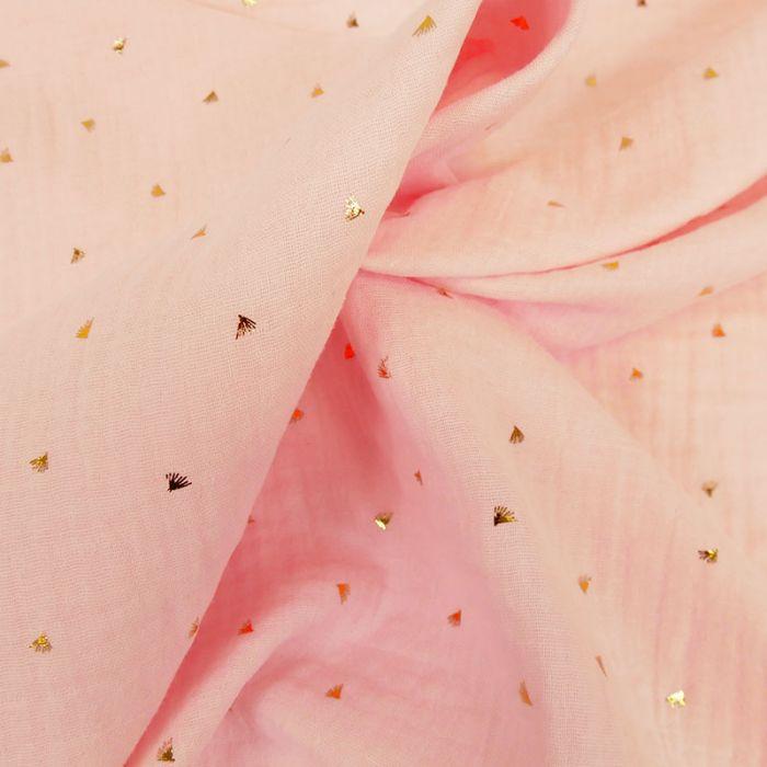 Tissu double gaze éventails dorés - rose x 10cm