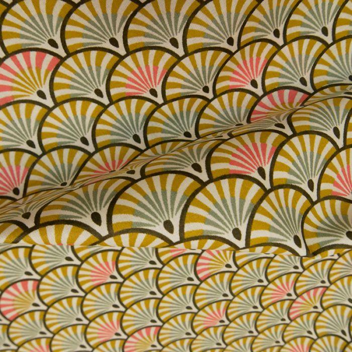 Tissu coton enduit éventails moutarde - vert x 10 cm