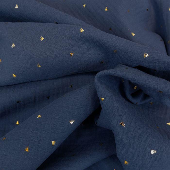 Tissu double gaze éventails dorés - indigo x 10cm