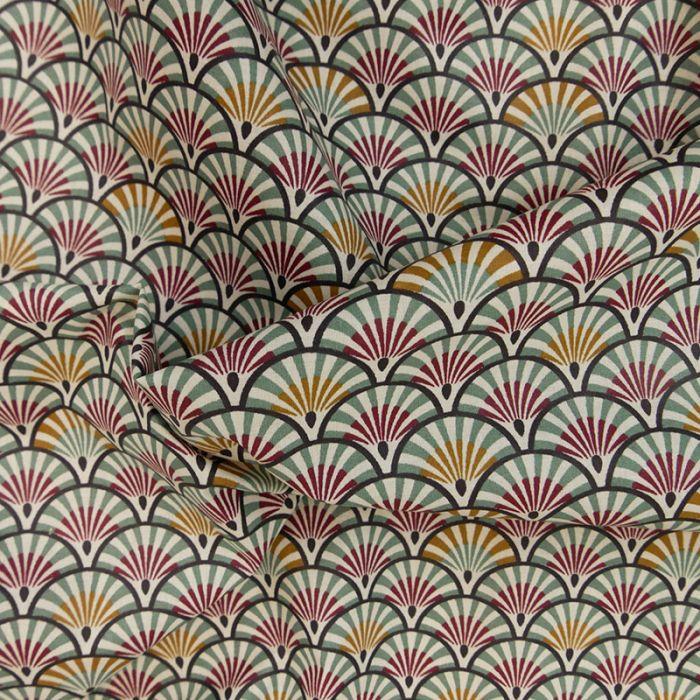 Tissu coton enduit éventails camel - thym x 10 cm