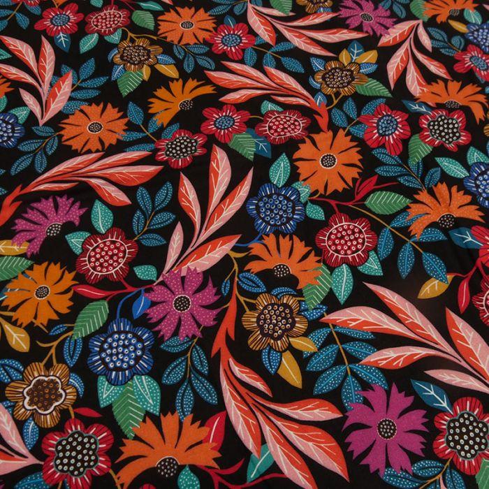 Tissu rayonne Gardenia noir - Dashwood x 10 cm