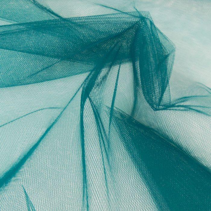Tissu tulle fin souple - vert canard x 10 cm